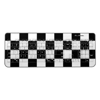 Classic Checkered Racing Check Black White Sport Wireless Keyboard