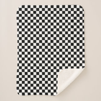 Classic Checkered Racing Sport Check Black White Sherpa Blanket