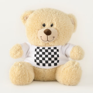 Classic Checkered Racing Sport Check Black White Teddy Bear