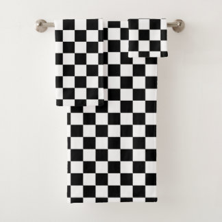 Classic Chequered Racing Sport Check Black White Bath Towel Set