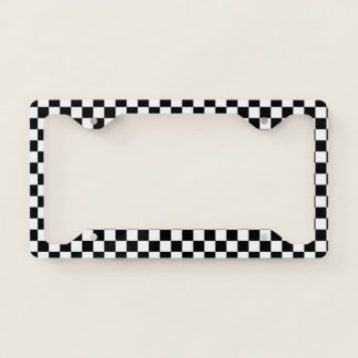 Classic Chequered Racing Sport Check Black White Licence Plate Frame