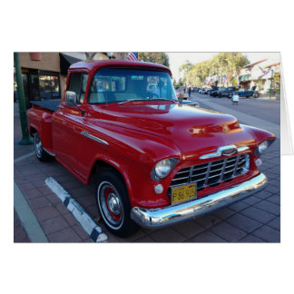 Classic Cherry Red Chevy Pick-Up Truck at Car Show Card