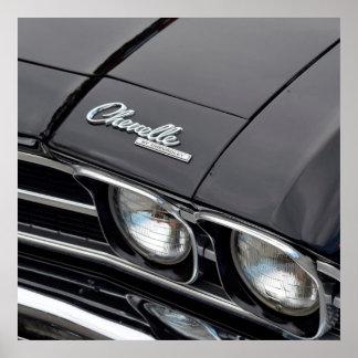 Classic Chevrlot Chevelle on Black Poster