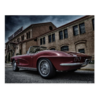 classic chevy corvette muscle car postcard