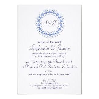 Classic China Blue Personalised Wedding Invitation