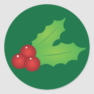 Classic Christmas Holly Round Stickers
