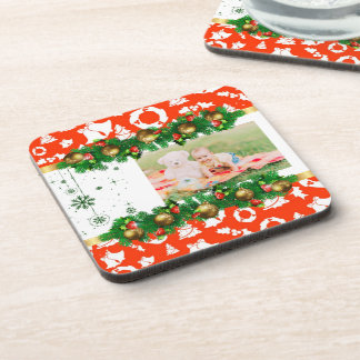 Classic Christmas Photo Red Green Gold White Coaster