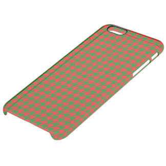 Classic Christmas Red and Green Houndstooth Check Clear iPhone 6 Plus Case