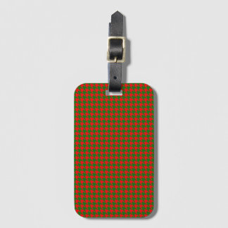 Classic Christmas Red and Green Houndstooth Check Luggage Tag