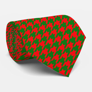 Classic Christmas Red and Green Houndstooth Check Tie
