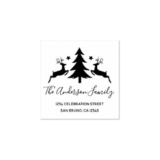 Classic Christmas Tree and Reindeer Return Address Rubber Stamp