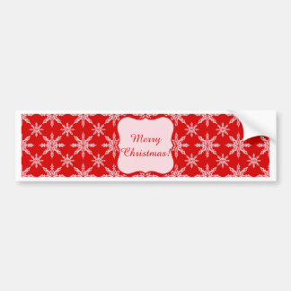 Classic Christmas white snowflakes on red backgrou Bumper Sticker