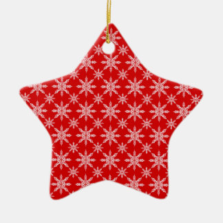 Classic Christmas white snowflakes on red backgrou Ceramic Star Decoration