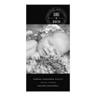 Classic Circle Seal Baby 1st Christmas Photo Card