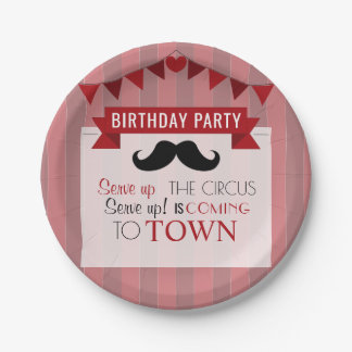 Classic Circus Poster Children's Birthday Party Paper Plate