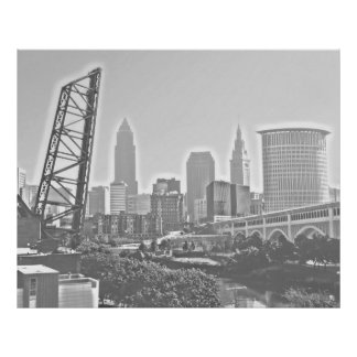 Classic Cleveland River View Skyline Poster