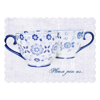 Classic cobalt blue pattern tea cups 13 cm x 18 cm invitation card