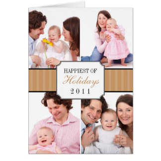 Classic collage brown striped band Christmas photo Greeting Card