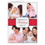 Classic collage red striped band Christmas photo Greeting Card