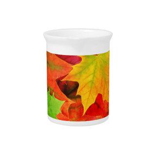 Classic Colored Autumn Fall Leaf Print Beverage Pitchers