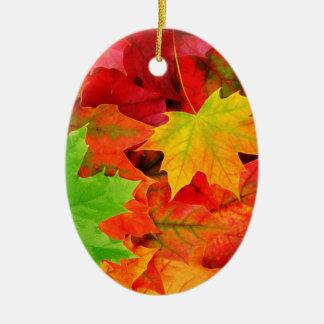 Classic Colored Autumn Fall Leaf Print Ceramic Oval Decoration