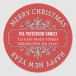 Classic Contemporary Merry Christmas Label Round Stickers