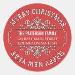 Classic Contemporary Merry Christmas Label Round Sticker