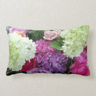 Classic Cottage Garden Flower Rose Hydrangea Peony Lumbar Pillow