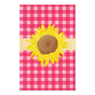 Classic country pink plaids and sunflowers. 14 cm x 21.5 cm flyer