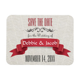 Classic Custom Save the Date Red Banner Rectangular Photo Magnet