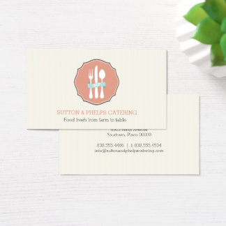 Classic Cutlery Beige Pinstripe Plate Catering Business Card