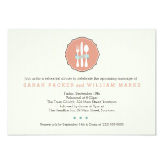 Classic Cutlery Beige Pinstripe Rehearsal Dinner Card