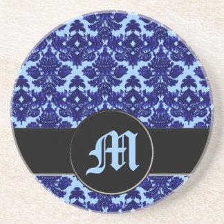 Classic Damask Blue (Monogram) Drink Coasters