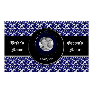 Classic Damask Blue Wedding Posters
