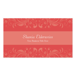 Classic Damask Coral Peach Dainty Pack Of Standard Business Cards