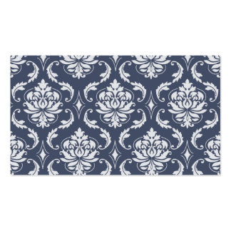 classic damask navy blue gray.png pack of standard business cards