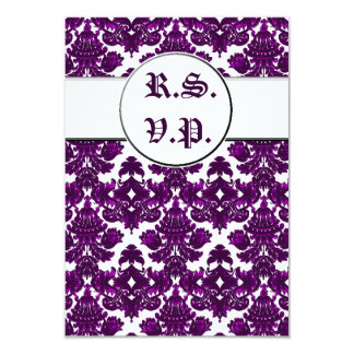 Classic Damask Purple (Wedding) Card