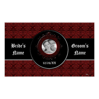 Classic Damask Red (Wedding) Poster