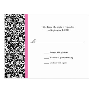 Classic Damask RSVP Reply Postcard