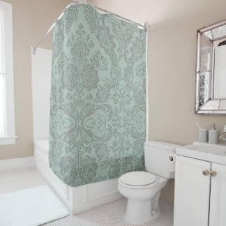 Classic Damask Sea foam and Gray Shower Curtain