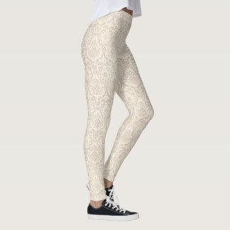 Classic damask vanilla pattern leggings