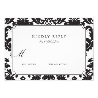 Classic Damask Wedding RSVP Personalized Invites