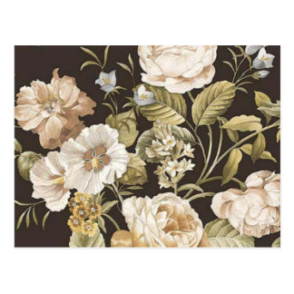 Classic Dark Brown w Cream and Pale Green Floral Postcard