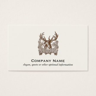 Classic Deer Etching Rustic Outdoors Business Card