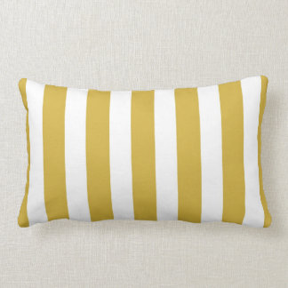 Classic Designer Stripes in Mustard and White Lumbar Cushion