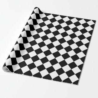 Classic Diamond Black and White Checkers Decor Wrapping Paper