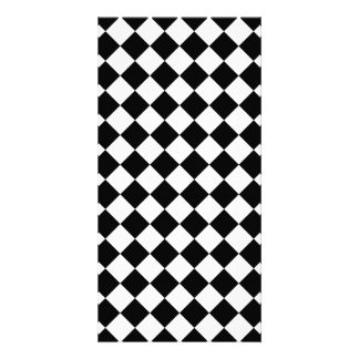 Classic Diamond Black and White Checkers Photo Card