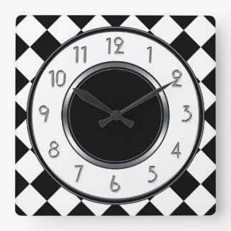 Classic Diamonds Monogram - Black White Square Wall Clock