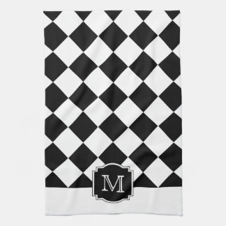 Classic Diamonds Monogram - Black White Tea Towel