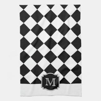 Classic Diamonds Monogram - Black White Tea Towels